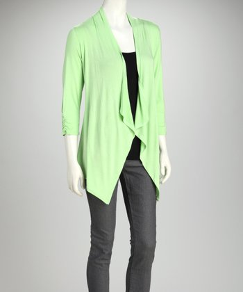 Limeade Ruched Open Cardigan