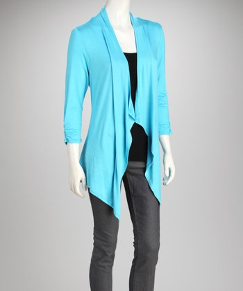 Sky Ruched Open Cardigan