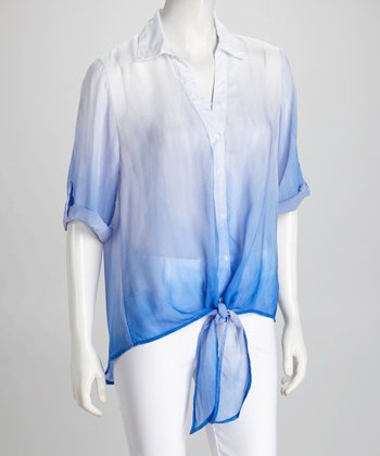Blue Ombré Tie-Front Button-Up Top