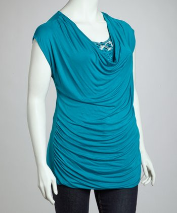 Teal Lace Cowl Neck Top - Plus
