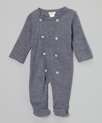 Dark Blue Heather Double-Breasted Organic Footie - Infant