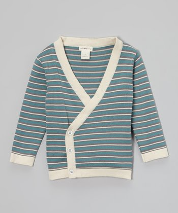 Smoke Stripe Organic Wrap Cardigan - Infant & Toddler