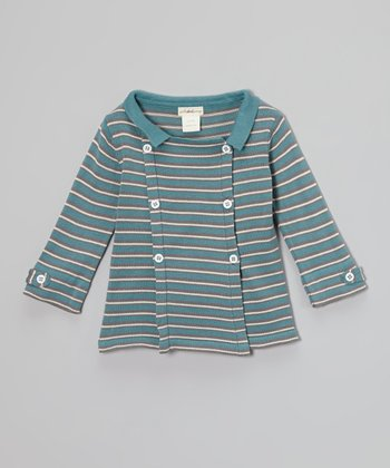 Smoke Stripe Organic Mandarin Peacoat - Infant, Toddler & Boys