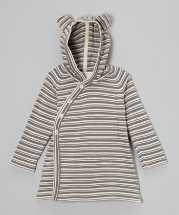 Plum Bunny Stripe Organic Bear Hoodie - Infant & Toddler