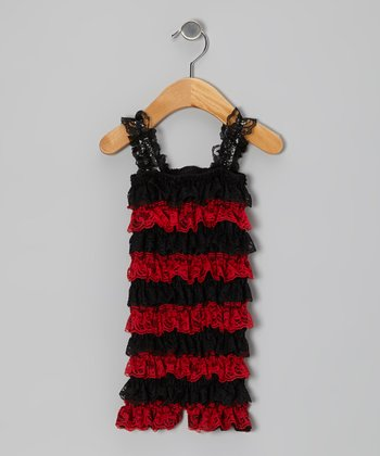 Red & Black Ladybug Lace Ruffle Romper - Infant & Toddler