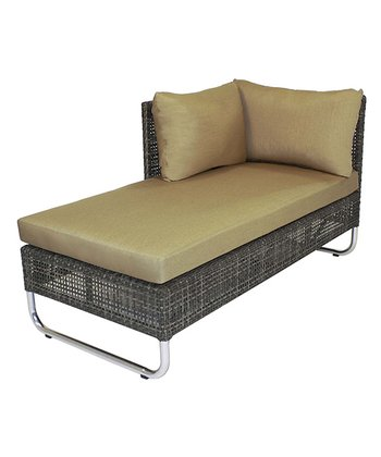 Beige Grid Chaise Lounge
