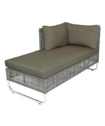 Left-Facing Charcoal Grid Chaise Lounge