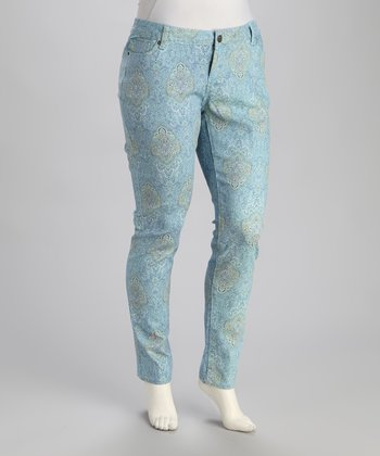 Light Blue Paisley Skinny Jeans - Plus