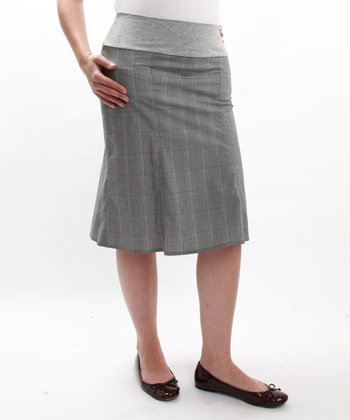 Gray & Blue Trumpet Maternity Skirt