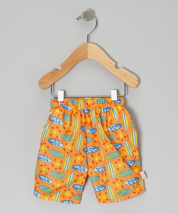 Orange Geo Surfboard Swim Trunks - Infant, Toddler & Boys