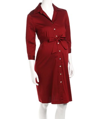 Burgundy Maternity Shirt Dress