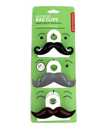 Mustache Bag Clip Set