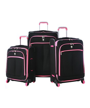 Black & Pink Evansville Wheeled Three-Piece Travel Case Set