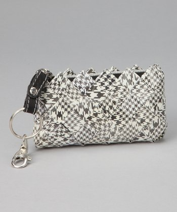 Black & White Houndstooth Keychain Bag