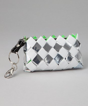 Silver & White Keychain Bag