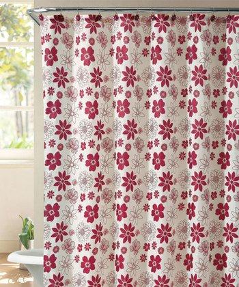 Red Ammie Shower Curtain Set