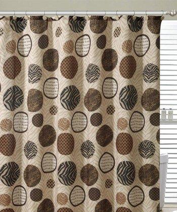 Chocolate & Taupe Aaron Shower Curtain Set