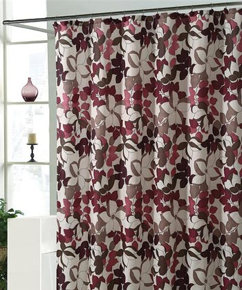 Red & Taupe Makayla Shower Curtain Set
