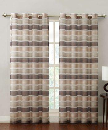 Chocolate Stripe Allura Curtain Panel