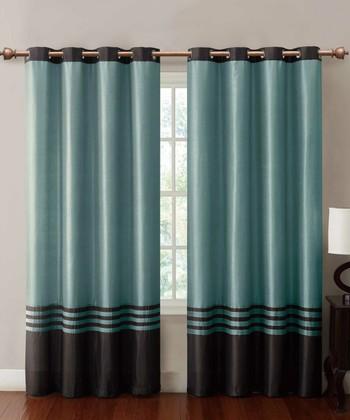 Chocolate & Blue Barclay Curtain Panel