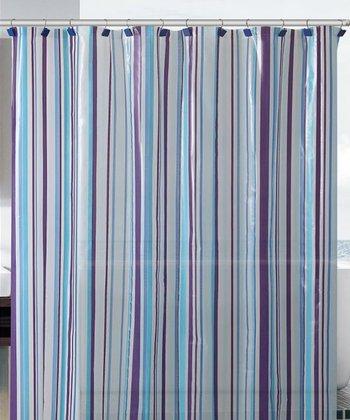 Blue Stripe Beach House Shower Curtain