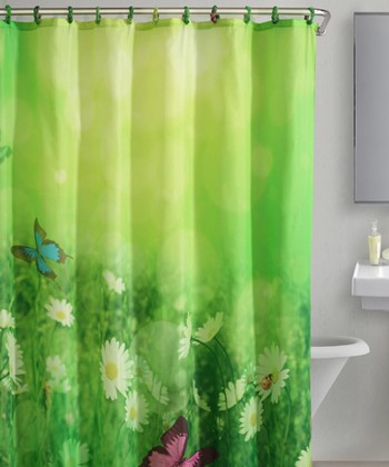 Green Butterfly Meadow Shower Curtain