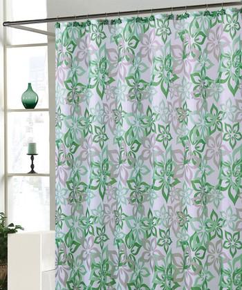 Green Bradley Shower Curtain Set