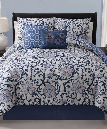 Blue Calista Reversible Comforter Set