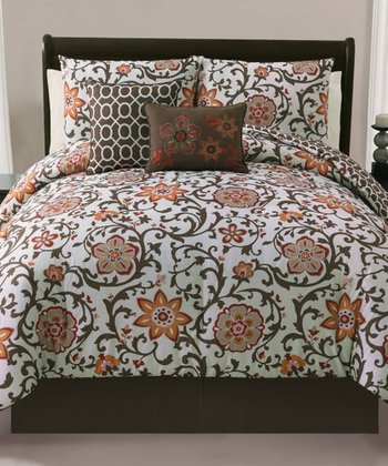 Brown Calista Reversible Queen Comforter Set