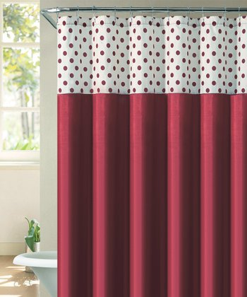 Red & Ivory Flocked Caitlin Shower Curtain
