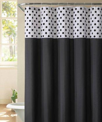 Silver & Black Flocked Caitlin Shower Curtain