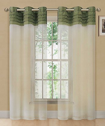 Green & Beige East Gate Pleated Voile Curtain Panel