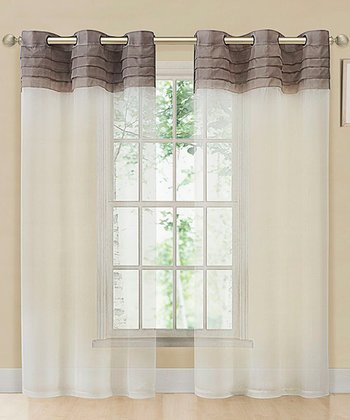 Taupe & Beige East Gate Pleated Voile Curtain Panel