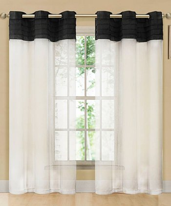 Black & Beige East Gate Pleated Voile Curtain Panel