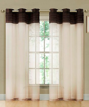 Chocolate & Beige East Gate Pleated Voile Curtain Panel