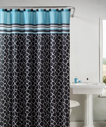Blue & Black Khadi Shower Curtain Set