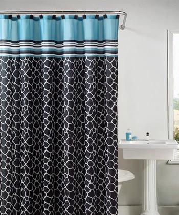 Blue & Black Khadi Shower Curtain Set