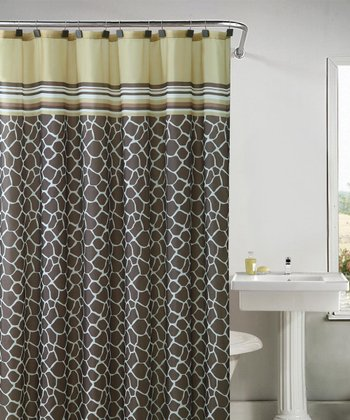 Yellow & Brown Khadi Shower Curtain Set