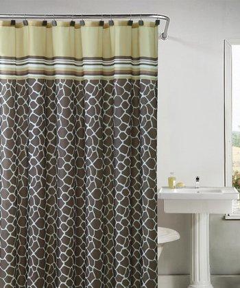 Yellow & Brown Khadi Shower Curtain Set