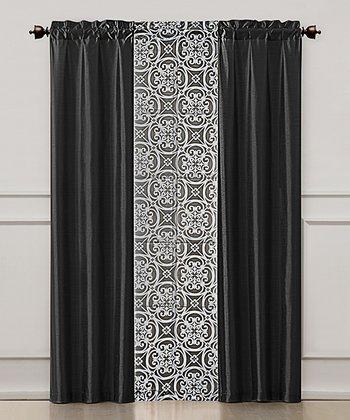 Black Kennedy Curtain Panel Set