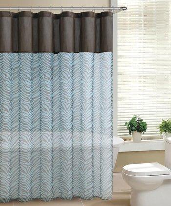 Blue & Chocolate Laken Shower Curtain