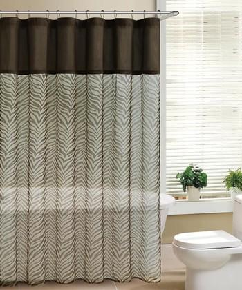 Chocolate & Taupe Laken Shower Curtain
