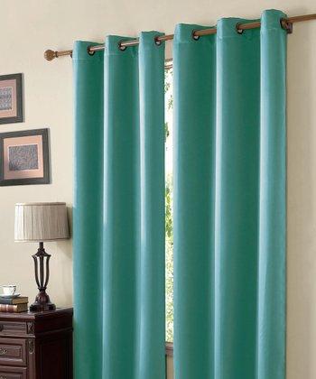 Aqua Mckenzie Twill Blackout Curtain Panel