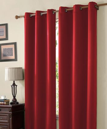Red Mckenzie Twill Blackout Curtain Panel