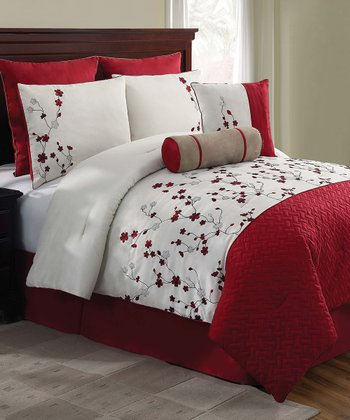 Red Sadie Queen Comforter Set