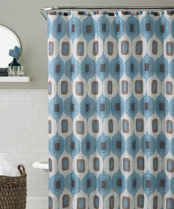 Blue & Chocolate Tiberius Shower Curtain Set