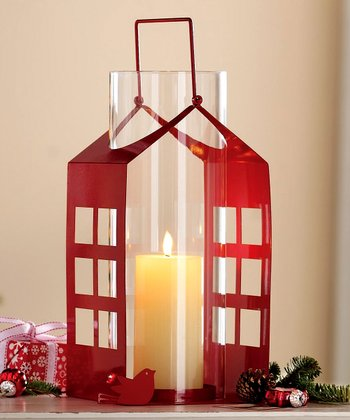 Red Birdhouse Lantern