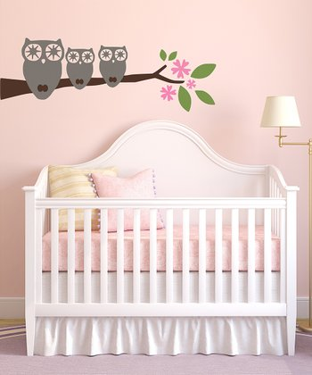 Three Little Owls Wall Decal Set