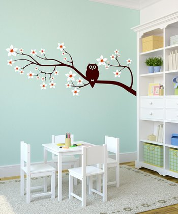 Owl on a Blossom Branch Wall Decal - Left Facing