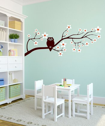 Owl on a Blossom Branch Wall Decal - Right Facing